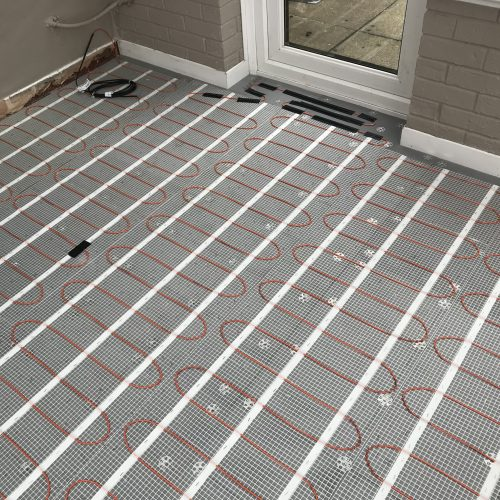 An electric underfloor heating cable mat installed in a kitchen & conservatory in Edinburgh