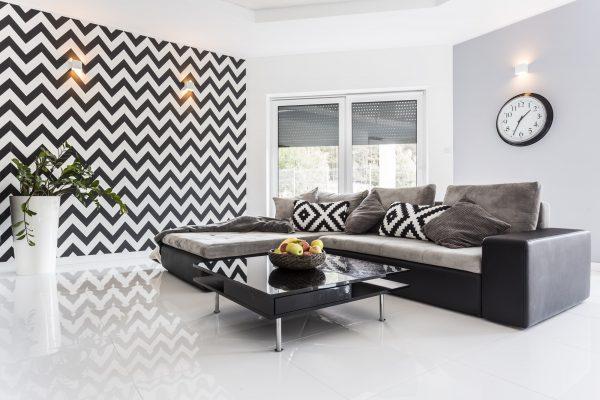 Posh living room with white tiled floor