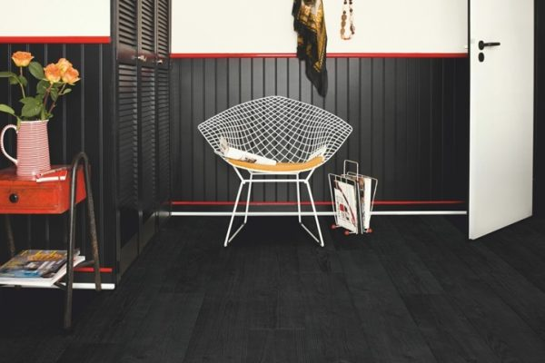 black laminate flooring in a house